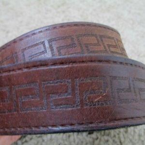 Shabby Leather Belt Large Geo Tooled Design Shabby